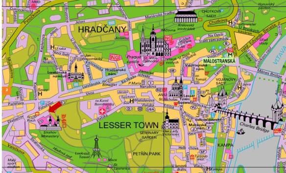 Praga - fraccao de mapa com o Mosteiro Strahov assinalado