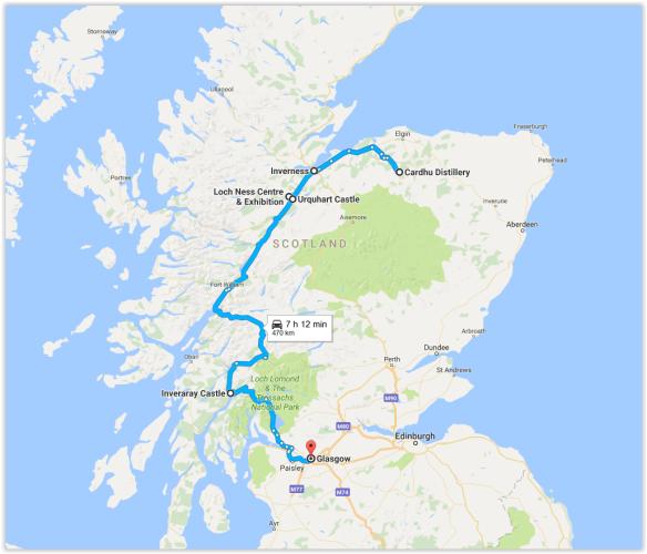 Terceiro dia na Escócia - mapa